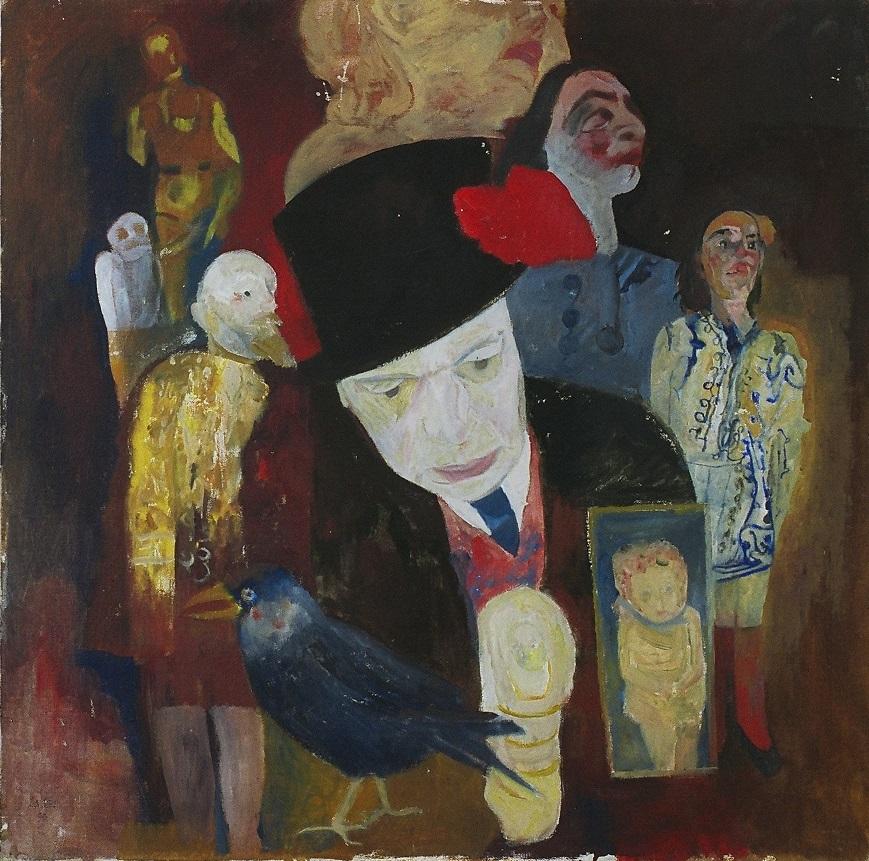 Mario Lattes autoritratto con marionette 1990