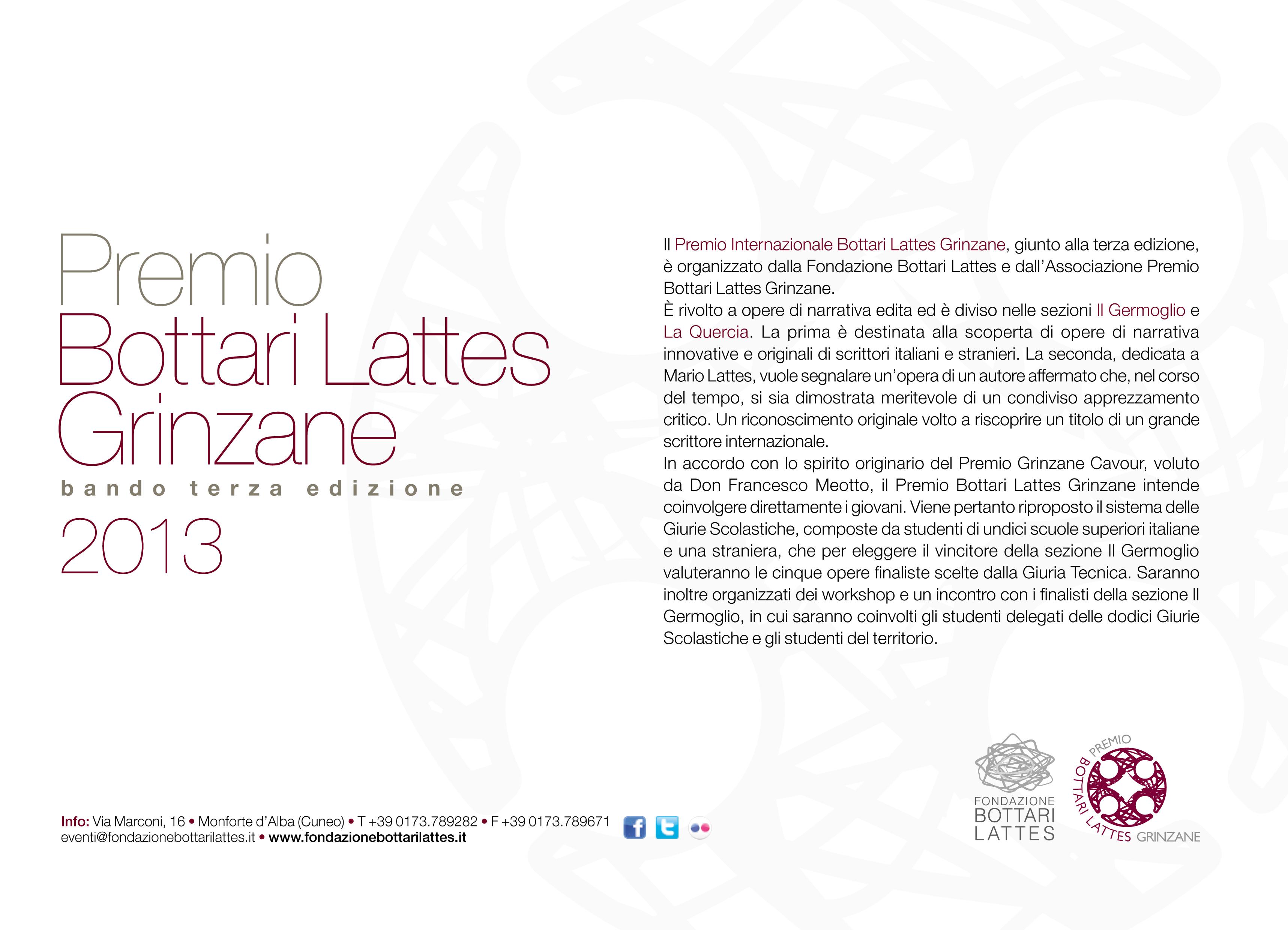 Premio Bottari Lattes Grinzane b a n d o t e r z a e d i z i o n e