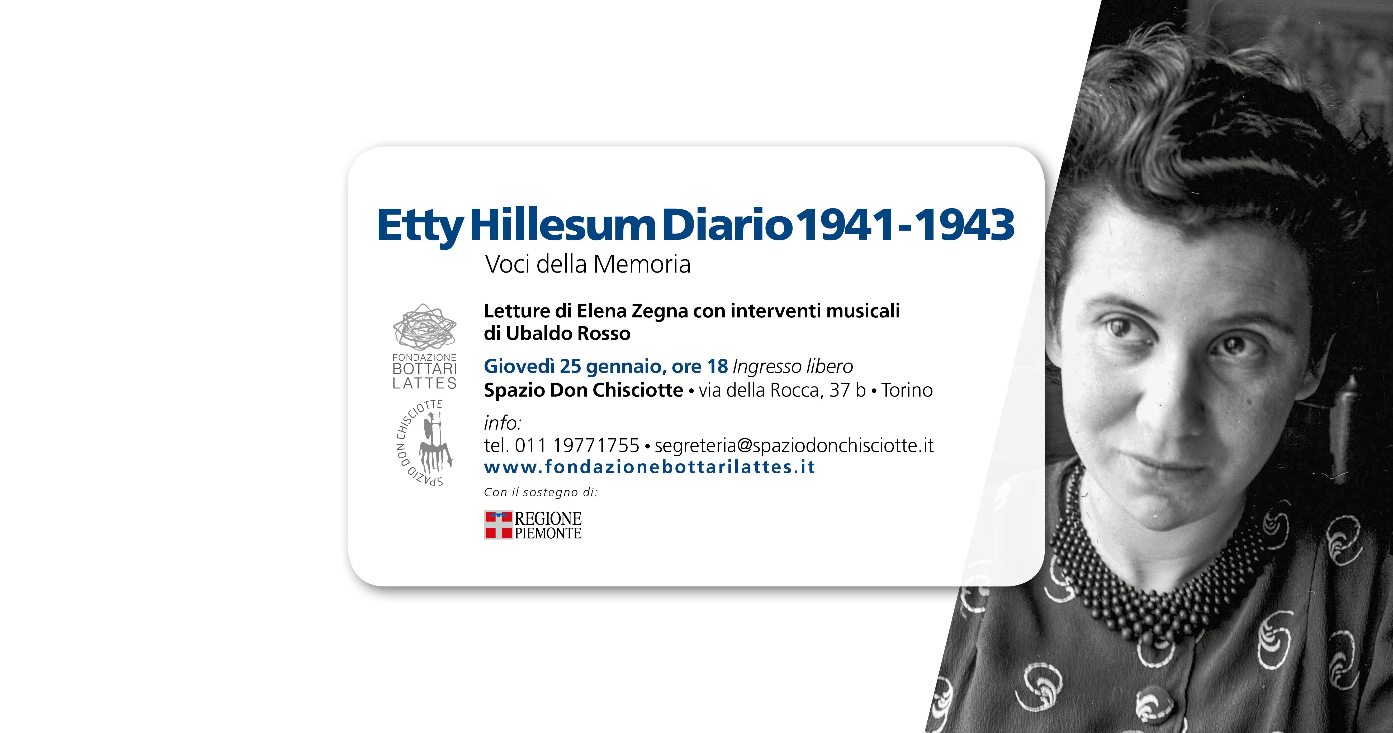 """Il """"Diario"""" di Etty Hillesum  per Il Giorno della Memoria  allo Spazio Don Chisciotte"""